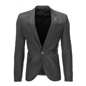 Tmavo sivé pánske bavlnené sako s gombíkom vhodné na každú príležitosť