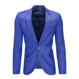 Modré pánske bavlnené sako slim fit strihu s vreckami