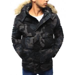 Pánska tmavá maskačová predlžená zimná bunda s kožušinovou kapucňou s kombinovaným zapínaním