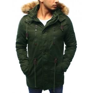 Pánska zimná predlžená bunda so šnúrovaním na páse v zelenej farbe s kožušinovou kapucňou
