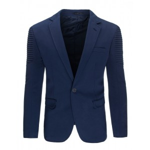 Tmavo modré pánske sako strihu slim fit s vreckami a vzorom na ramenách