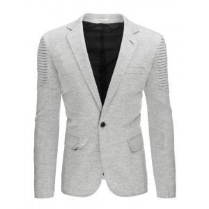 Sivé pánske slim fit saká s vreckami a vzorovanými ramenami