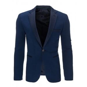 Elegantné tmavo modré pánske sako s koženým lemovaním okolo vreciek