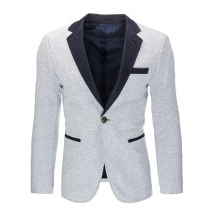 Svetlo sivé pánske slim fit saká s vreckami a lakťovými nášivkami