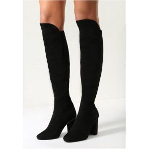 Elegantné dámske vysoké čižmy v čiernej farbe