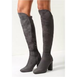 Moderné dámske zimné čižmy tmavo sivej farby