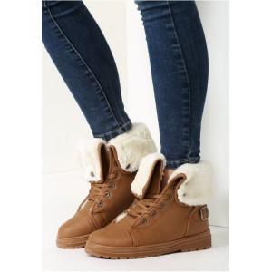 Dámske zimné topánky hnedej farby s bielou kožušinou