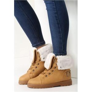 Dámske hnedé topánky na zimu na šnúrovanie s kožušinou