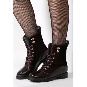 Luxusné dámske hnedé topánky na zimu s lesklou špičkou
