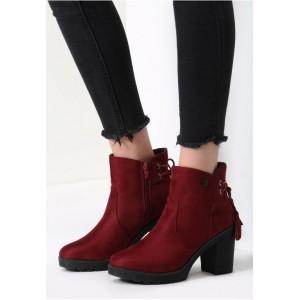 Bordové dámske topánky na zimu s vysokým podpätkom
