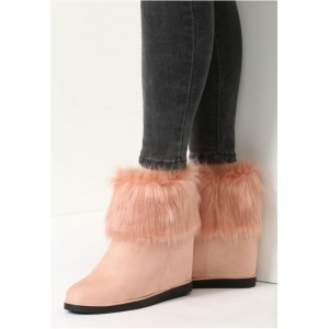 Rúžové dámske vysoké topánky na zimu s kožušinkou