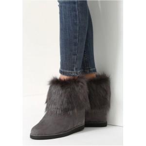 Pohodlné dámske vysoké topánky na zimu v sivej farbe