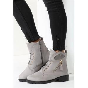 Dámske zimné topánky na nízkom podpätku s čiernou podrážkou a ozdobným zlatým zipsom