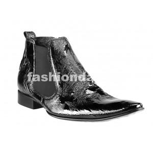Pánske kožené topánky čierne PT136