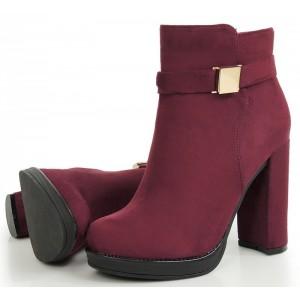 Dámska zateplená zimná obuv na vysokom podpätku bordovej farby