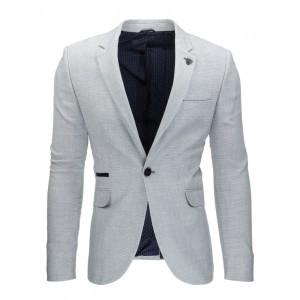Luxusné pánske sako s nášivkami sivej farby