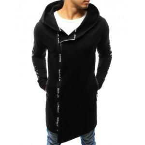 Dlhá pánska mikina čiernej farby s kapucňou a potlačou