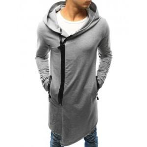 Sivá pánska mikina s kapucňou a zapínaním na zips