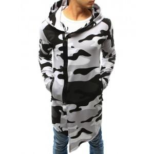 Dlhé maskáčové pánske mikiny sivej farby so zipsom a kapucňou
