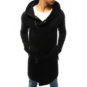 Moderná pánska mikina čiernej farby s farebnou potlačou a kapucňou
