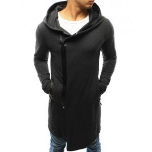 Dlhé tmavo sivé pánske mikiny s kapucňou a čiernym zipsom