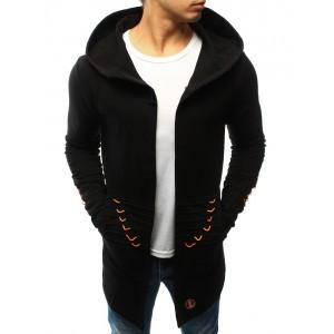 Trendová pánska mikina čiernej farby s veľkou kapucňou a ozdobnými šnúrkami