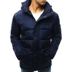 Športová pánska prešívaná zimná bunda tmavo modrej farby s kapucňou