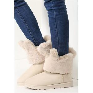 Béžové dámske moderné zateplené kožušinkové snehule na zimu na nízkom podpätku