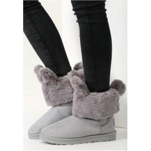 Dámske zimne snehule na nízkom podpätku so sivými kožušinkovými uškami v sivej farbe