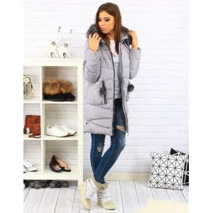 Sivé dámske zimné vetrovky s odnimateľnou kožušinou na kapucni