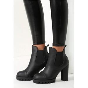 Dámske moderné členkové čižmy v čiernej farbe s hrubym a vysokým podpätkom