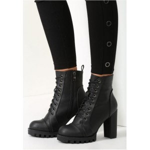 Kožené dámske členkové čižmy so šnurovaním v čiernej farbe na vysokom podpätku