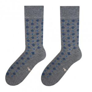 Sivé bavlnené pánske ponožky s modrým vzorom