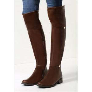Dámske hnedé vysoké čižmy nad kolená s čiernou podrážkou