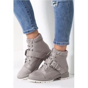 Sivá dámska zimná obuv na nízkom podpätku s prackou
