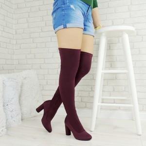 Vysoké dámske čižmy nad kolená so zapínaním na zips v bordovej farbe na vysoko hrubom podpätku