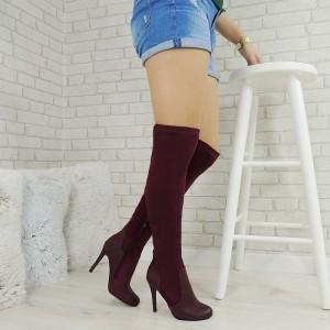 Luxusné dámske vysoké čižmy nad kolená v bordovej farbe koženo semišového materiálu na vysokom podpätku
