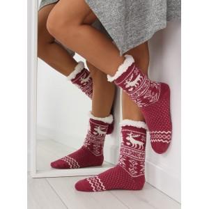 Teplé červené dámske ponožky so vzorom a protišmykovými bodkami