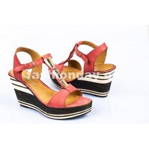 Dámske kožené sandále červené DT084