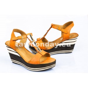 Dámske kožené sandále oranžové DT077