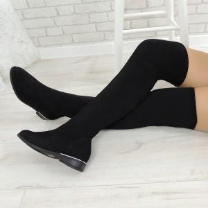 Elegantné dámske zimné čižmy čiernej farby nad kolená