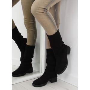 Elegantné dámske zimné topánky čiernej farby na hrubom podpätku