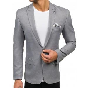 Slim fit pánske sako v sivej farbe s náprsným vreckom