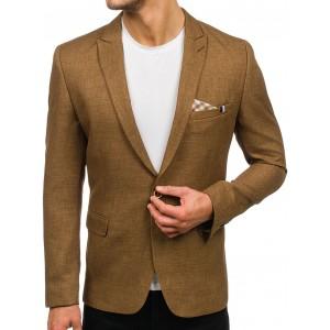 Pánske formálne svetlo hnedé sako s náprsným vreckom