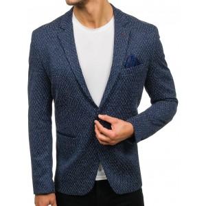 Pánske modré vzorované sako s nášivkami na lakťoch