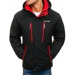 Čierna teplá lyžiarska bunda pre pánov s kapucňou