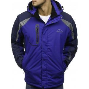 Ski pánska bunda s vreckami na zips modrej farby