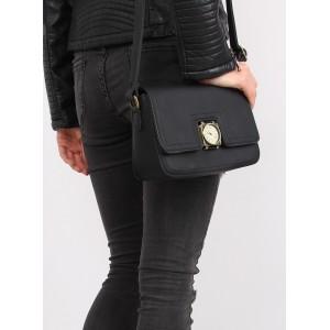 Elegantná dámska crossbody kabelka čiernej farby s aplikáciou