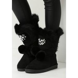 Elegantné čierne dámske snehule s kožušinou
