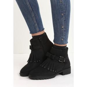 Členkové dámske topánky čiernej farby s mašličkou a strapcami